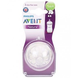 Avent Silicone Natural Teat 2 Holes Slow Flow - Pack Of 2