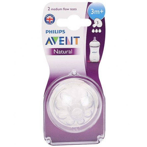 Avent Silicone Natural Teat 3 Holes Medium Flow - Pack Of 2