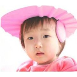 Baby World Store Adjustable Soft  Baby Shampoo Cap Hair Shampoo Shield Hat Protect Your Eyes Ear earmuffs Pink Color