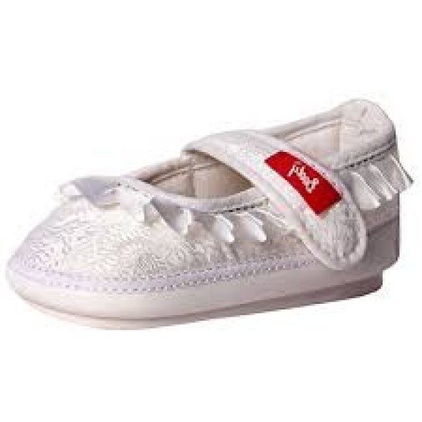 Booty White Silk Finish Musical Shoes With White Satin Frills