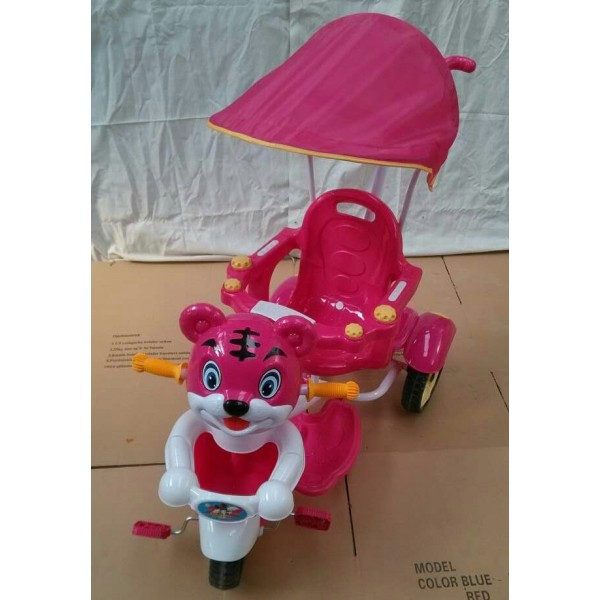 Baby World Baby Tricycle With Push Handle Dark Pink