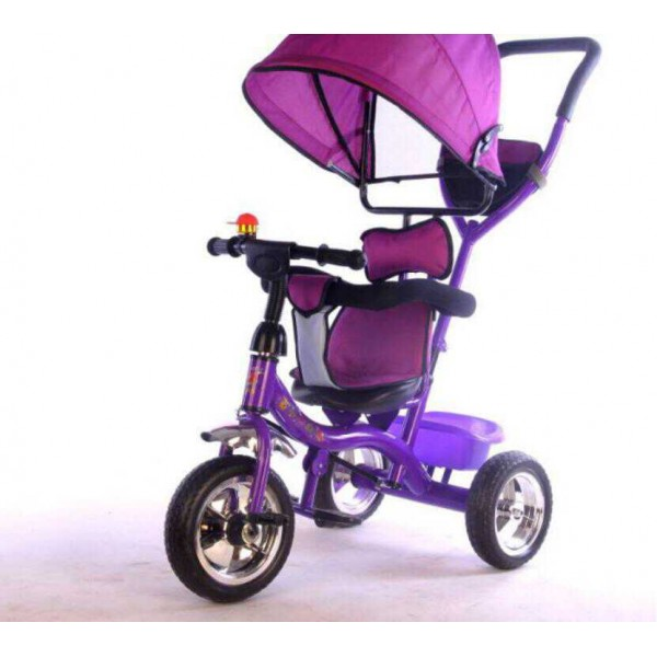 Baby World Buggy Tricycle With Canopy And Handle Purple