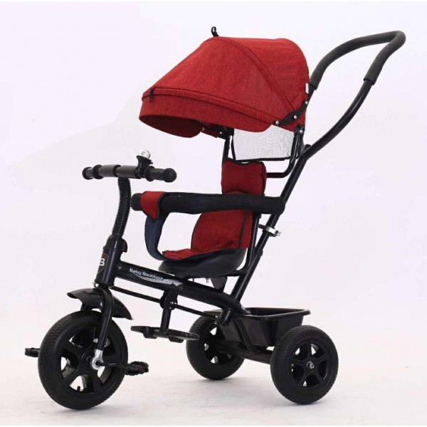 Baby world Buggy Tricycle With Canopy And Handle Red