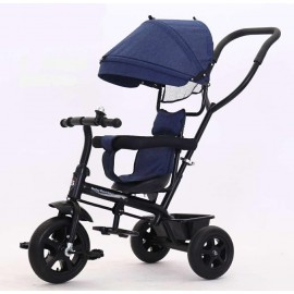 Baby World Buggy Tricycle With Canopy And Handle -Blue