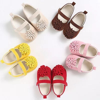 Baby World Fancy Flower Soft Shoes Yellow