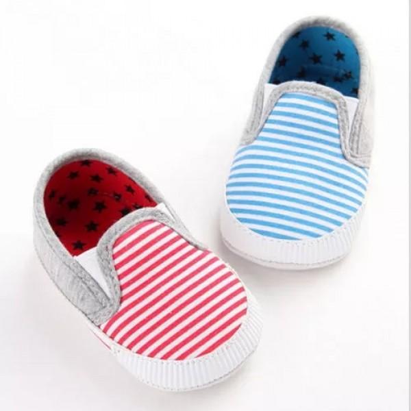 Baby World Stripe Print New Born Soft Shoes Blue
