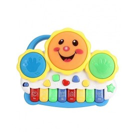 Baby World Drum key board With Flashing Lights and Melodious Music - Multicolor