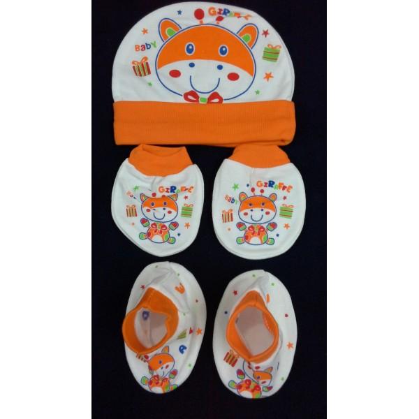 Baby World Giraffe print Newborn Cap set Orange