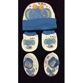 Baby World Elephant print Newborn Cap set Blue