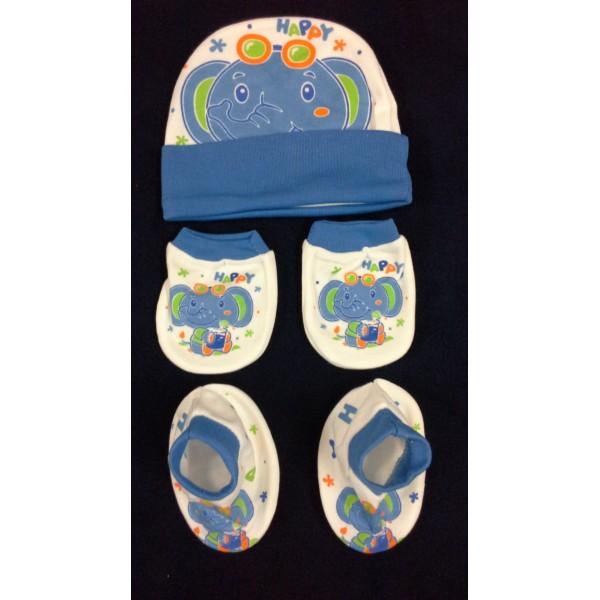 Baby World Elephant print Newborn Cap set Blue