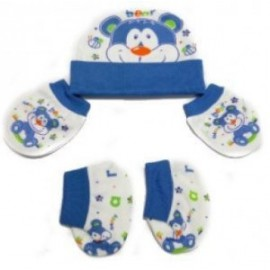 Baby World Bear print Newborn Cap set Blue