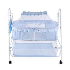 Baby World Cradle With Mosquito Net - Sky Blue
